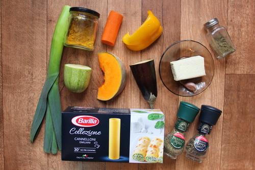 Каннеллони с овощами и тофу  - ингредиенты