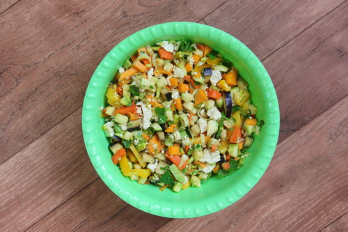 Каннеллони с овощами - шаг 3 (смешиваем овощи и сыр тофу)